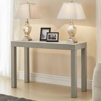 Emery Beige Linen Nailhead Trim Sofa Table by iNSPIRE Q Bold