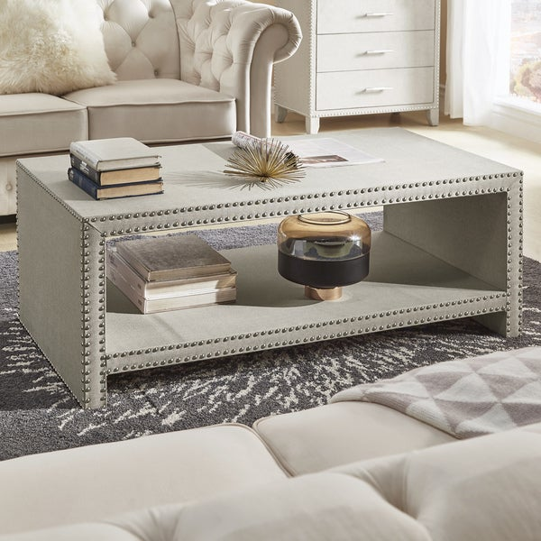 Emery Beige Linen Nailhead Trim Accent Tables By INSPIRE Q Bold