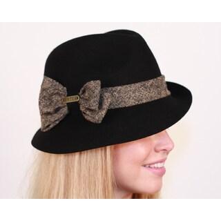 Hatch Asymmetrical Bow Wool Black Fedora Hat