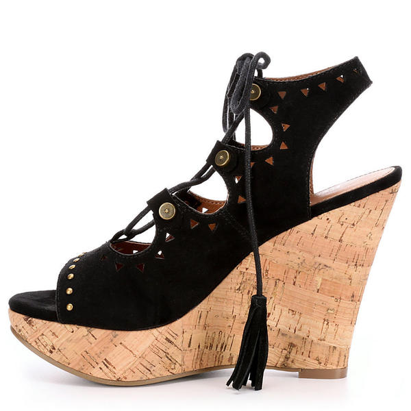 women's black open toe wedge shoes