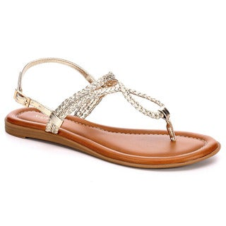 Xappeal Womens Alyssa Braided T Strap Thong Sandals