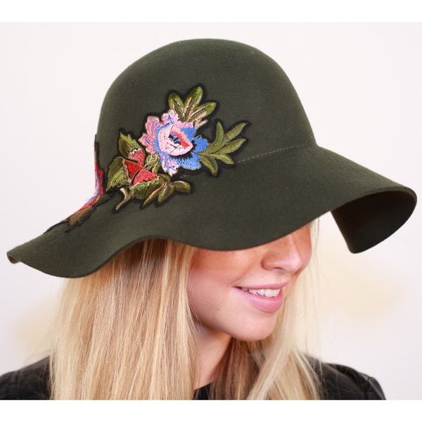 c73edc5dc4f Shop Hatch Floral Applique Wool Felt Floppy Wide Brim Women s Hat - Free  Shipping Today - Overstock - 19433908