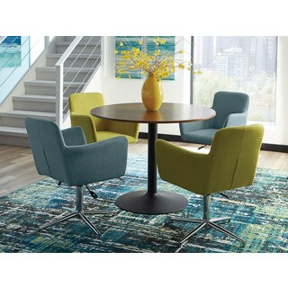 Hayes 5-piece Brown Wood/Metal Dining Set with Yellow/Blue Chairs