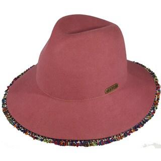 Hatch Fringe Wool Felt Pink Safari Fedora Hat