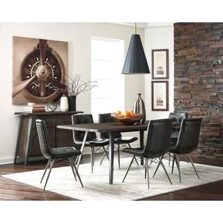 Walton Silvertone Black Leatherette Metal 10-piece Dining Set