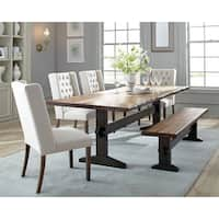 Marolles Honey Finish Wood 6-piece Dining Set with Beige Chairs