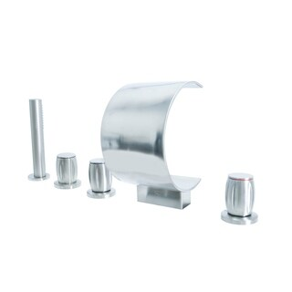 Dyconn Faucet 4 Hole Roman Tub Filler with Hand Shower for Tub