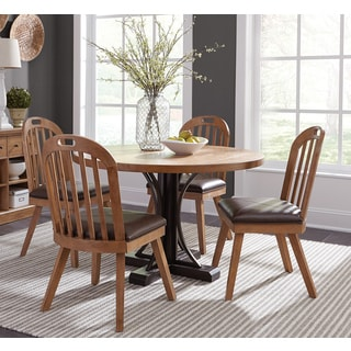 Belcher Dark Coffee Mahogany 5 Piece Round Table Dining Set