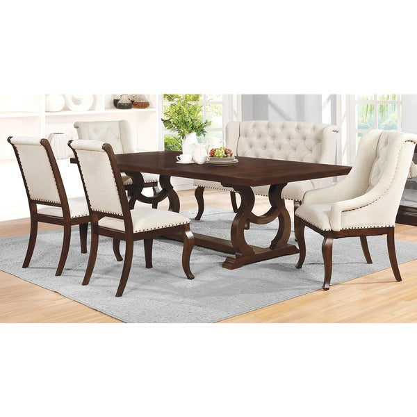 Ashleigh Cappucino/ Cream Wood/ Fabric 6 Piece Dining Set