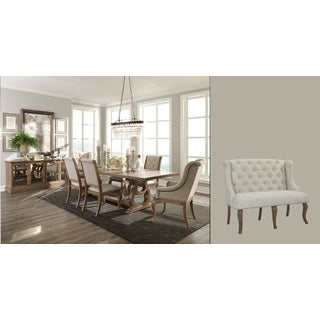 Ashleigh Natural Brown Wood 9-piece Dining Set with Cream-colored Chairs