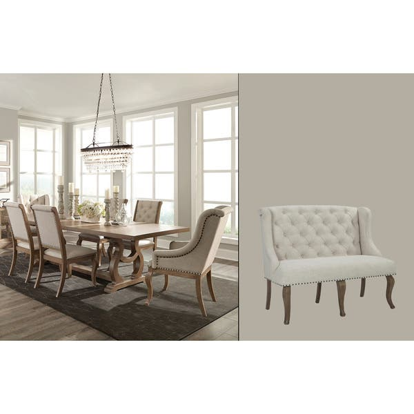 Ashleigh Cream Brown Fabric Acacia Wood 8 Piece Dining Set With Bench Overstock 19434086