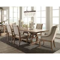 Ashleigh Cream/Brown Fabric/Acacia Wood 7-piece Dining Set