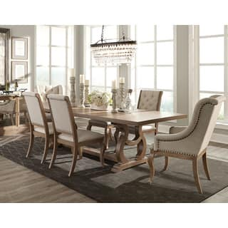 Ashleigh Cream Brown Fabric Acacia Wood 7 Piece Dining Set