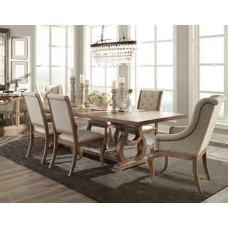 Ashleigh Cream/Brown Fabric/Acacia Wood 7 Piece Dining Set