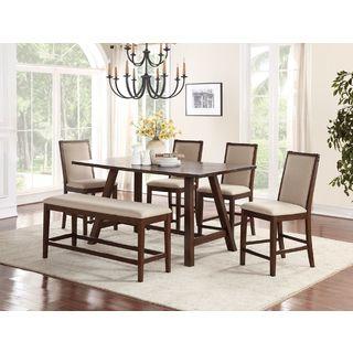 Eden Prairie Cream Fabric Upholstery Dark Maple Finish Wood 6-piece Counter-height Dining Set