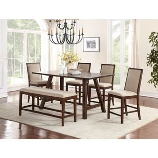 Eden Prairie Cream Fabric Upholstery Dark Maple Finish Wood 6 Piece  Counter Height Dining