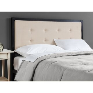 Priage Button Tufted Taupe Upholstered Metal Headboard