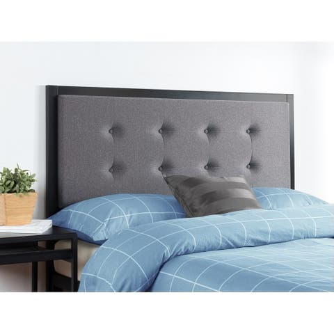 Priage by Zinus Button Tufted Grey Upholstered Metal Headboard