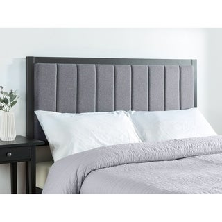 Priage by Zinus Banded Grey Upholstered Metal Headboard