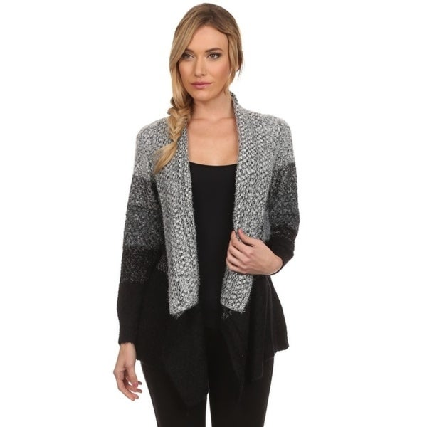 High Secret Women's Black/Gray Fluffy Knitted Striped-Design Open Front Cardigan