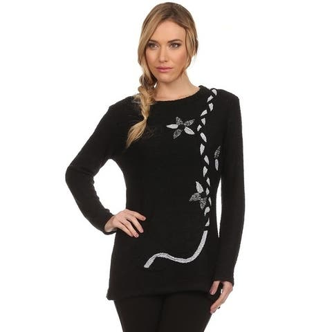 High Secret Women's Black Snaggy Embellished Tunic Sweater