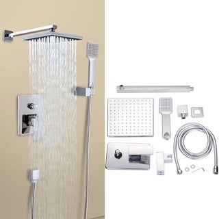 "8"" Rainfall Shower head Arm Control Valve Handspray Shower Faucet Set"