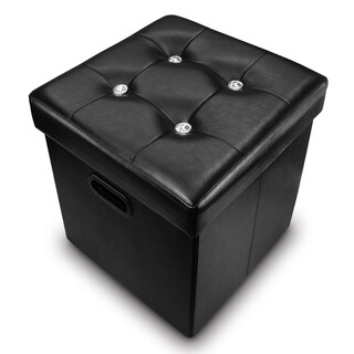 Ikee Design Black Leatherette Folding Storage Ottoman with File Holder 14W x 14D x 13 1/2H