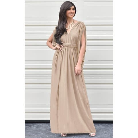 KOH KOH Long Grecian Empire Waist Loose Baggy Formal Maxi Dress Gown