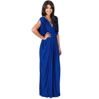 KOH KOH Womens Short Split Empire Waist V-Neck Evening Maxi Dress
