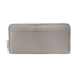 MICHAEL Michael Kors Jet Set Saffiano Leather Continental Wallet Pearl Grey/Silver Hardware