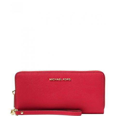 MICHAEL Michael Kors Jet Set Travel Continental Wallet Bright Red/Gold hardware