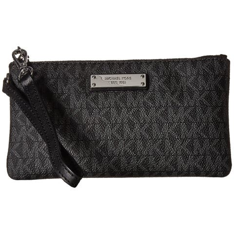 dce547ab654a MICHAEL Michael Kors Jet Set Signature Medium Wristlet MK Logo Black