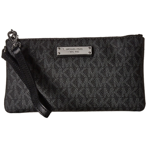 6956e3e94142b8 Shop MICHAEL Michael Kors Jet Set Signature Medium Wristlet MK Logo ...