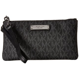 MICHAEL Michael Kors Jet Set Signature Medium Wristlet MK Logo Black
