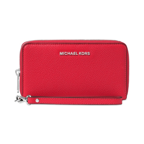 f751822289ed49 MICHAEL Michael Kors Mercer Large Flat Multi Function Phone Case Bright Red/Silver  Hardware