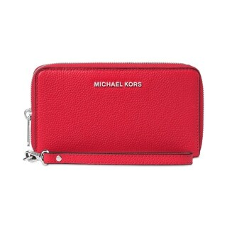 MICHAEL Michael Kors Mercer Large Flat Multi Function Phone Case Bright Red/Silver Hardware