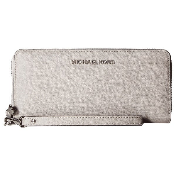 1bf378387bf0 MICHAEL Michael Kors Jet Set Travel Continental Wallet Pearl Grey/silver  hardware