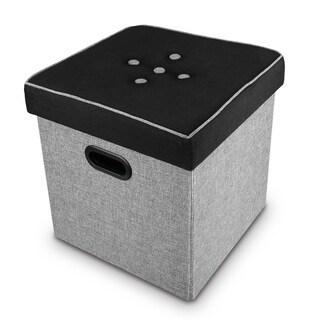 Ikee Design Black and Gray Folding Storage Ottoman 14 3/4W x 14 3/4D x 15H