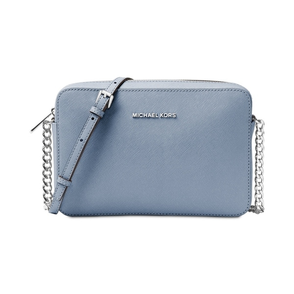 1e97b84b634a40 MICHAEL Michael Kors Jet Set Large Saffiano Leather Crossbody Pale Blue/Silver  hardware