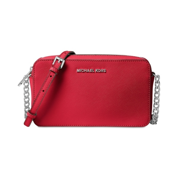 MICHAEL Michael Kors Jet Set Travel Medium East West Crossbody Bright  Red Silver hardware b8ec60b97f9