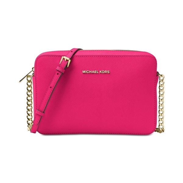 807bb6b1fea9 MICHAEL Michael Kors Jet Set Large Saffiano Leather Crossbody Ultra Pink