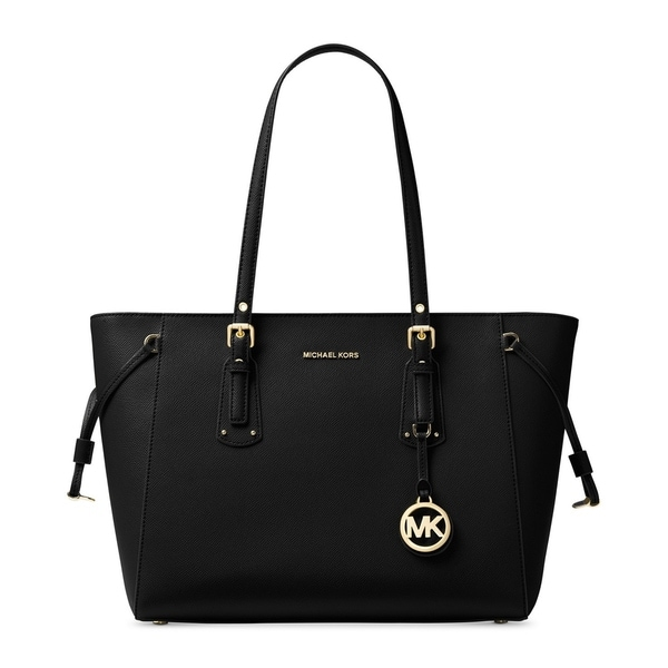 d854a7025ac2 Michael Kors Michael Voyager Black Leather Multifunction Top-zip Tote
