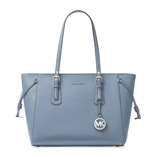 8bce5a0c6201 Shop Michael Kors Voyager Pale Blue Silver-tone Leather Multifunction Zip  Tote - Free Shipping Today - Overstock - 19436382