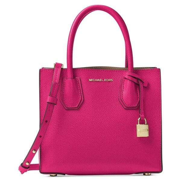 6b83b10c5e1c Shop MICHAEL Michael Kors Studio Mercer Leather Messenger Ultra Pink - Free  Shipping Today - Overstock - 19436390