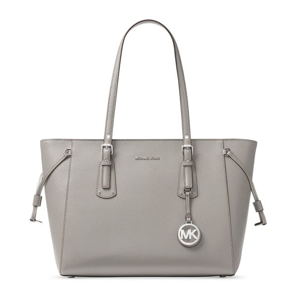 d7fbab68dc82 Michael Kors Voyager Pearl Grey Silver-tone Leather Multifunction Tote