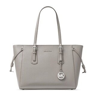 Michael Kors Voyager Pearl Grey/Silver-tone Leather Multifunction Tote