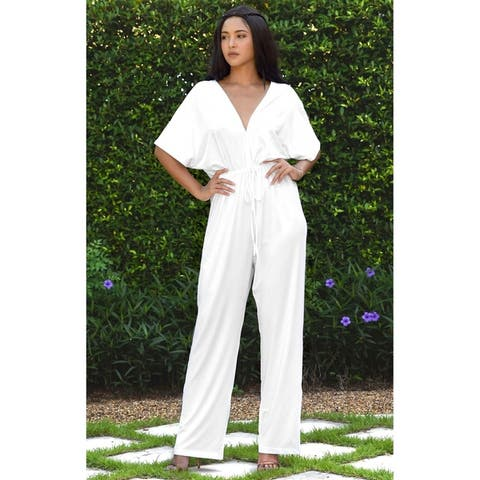 KOH KOH Long Pant Suit Short Sleeve Casual V-neck Sexy Romper Jumpsuit
