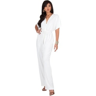 KOH KOH Womens V-Neck Short Sleeve Bat Wing Casual Working Romper Jumpsuit