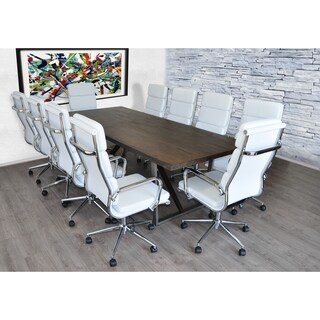 SOLIS Remini Weathered Wood Table, White Padded Leather Chairs Set