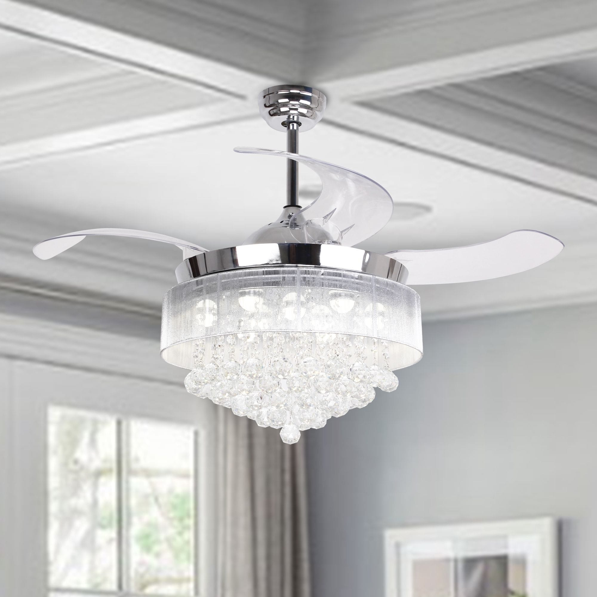 46 Inch Crystal Led Ceiling Fan 4 Blades Remote And Light Kit Included 46 In Overstock 19437273
